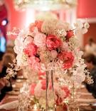 ivory blush arrangement clear vase wedding reception feminine cascading decor greenbrier