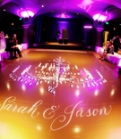 Chandelier and couple's names on ballroom floor