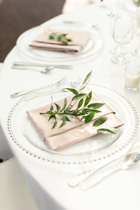 pale blush napkin with sprig of greenery, clear charger with silver dot trim