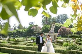 four seasons westlake village garden hedges wedding portrait