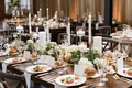 rustic wedding reception with tapered honeycomb candles