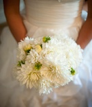 Bridal wedding bouquet with white dahlia flowers