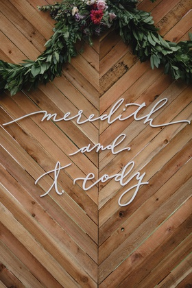 wedding sign wood chevron design calligraphy letters greenery garland fall flower colors