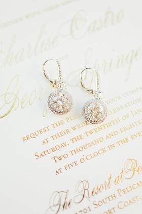 Wedding invitation charlise castro and george springer wedding jewelry earrings diamond round