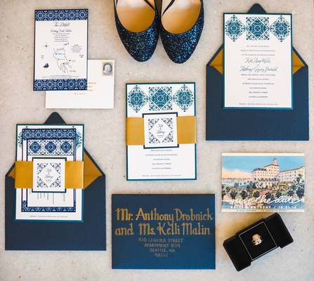 blue gold white invitation suite southern california wedding spanish flair custom calligraphy