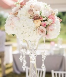 Garden roses, sweet peas, tuberose, rice flower and hydrangea, clear vase, crystals