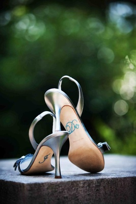 "Something Blue rhinestone ""I Do"" stickers on soles of heels"