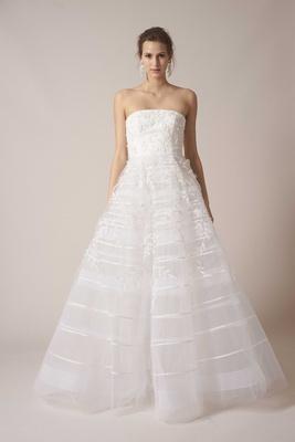 sachin babi spring summer 2017 debut bridal collection strapless ball gown satin stripe skirt
