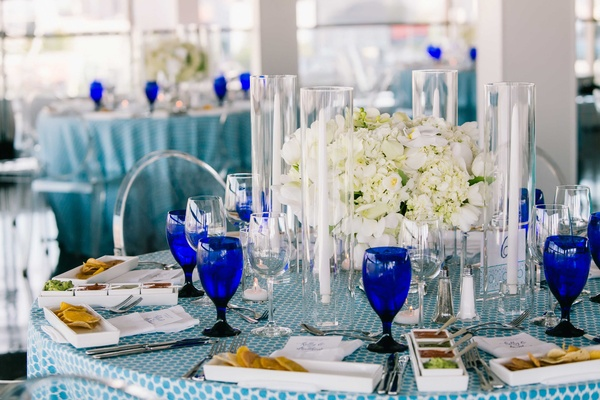 detriot lions quarterback matthew stafford rehearsal dinner blue spotted linens salsa tasting glass