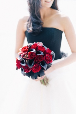 Alternative wedding bouquet red rose, black calla lily, orchid