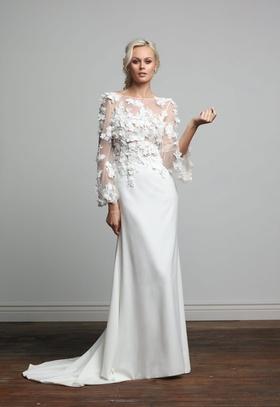 Joy Collection Barbara Kavchok Meesha wedding dress crepe bell sleeve gown