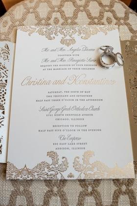 Wedding invitation by Ceci New York gold filigree laser cut details gold calligraphy wedding invite