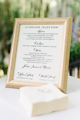 gilt rimmed bar menu choices signature drinks southern wedding south carolina classic beverages open
