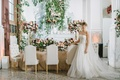 """jinza couture bridal gown """"katie"""" in front of modern garden table wedding"""