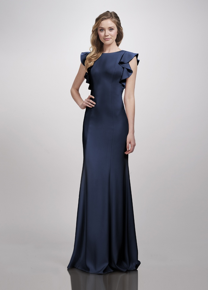 Brides bridesmaids photos sleek high neck gown flowy for Sleek wedding dresses with sleeves