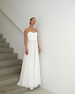 Francesca Miranda Spring 2019 bridal collection Michaela strapless sheath wedding dress chiffon