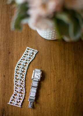 Women's watch for bride and diamond bracelet