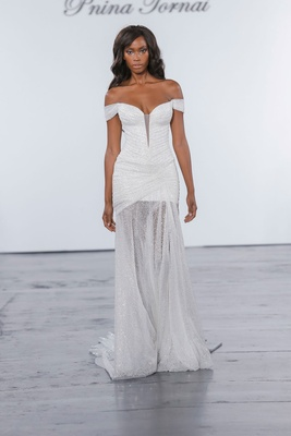 Pnina Tornai for Kleinfeld 2018 wedding dress glitter off shoulder drape gown with sheer skirt