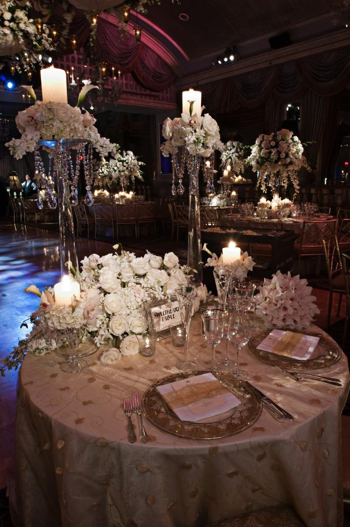 Glamorous all white fall wedding in new york city inside weddings golden linens and crystal centerpieces for couple junglespirit Choice Image
