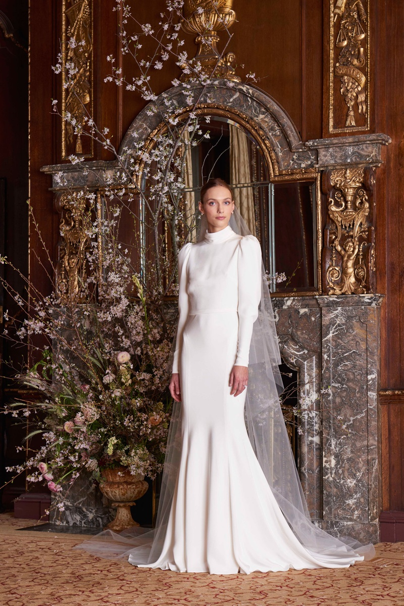 Image result for monique lhuillier high neck wedding gown