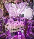 reflective tablescape purple lighting uplighting opulent wedding reception crystals lavish morocco