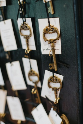 gold skeleton key with white escort cards