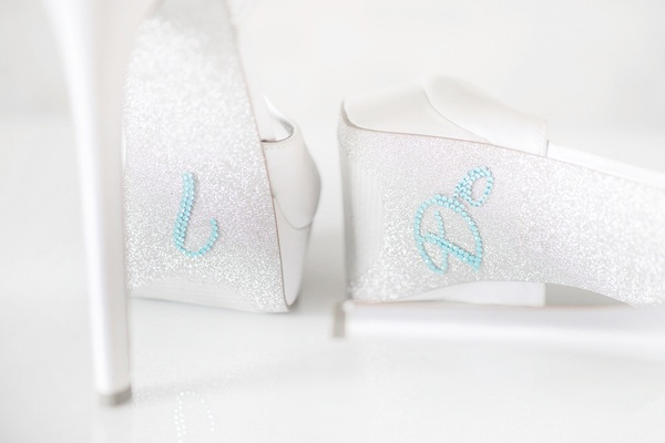 Silver sparkle heels with something blue I Do rhinestones