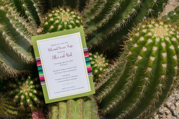 white and green wedding invitations calligraphy on cactus in arizona