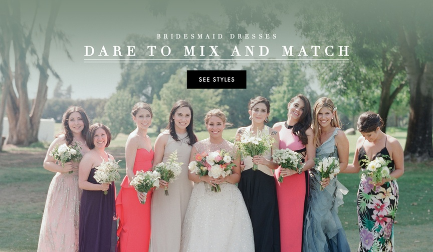 Mix and Match bridesmaid dresses in different colors and silhouettes
