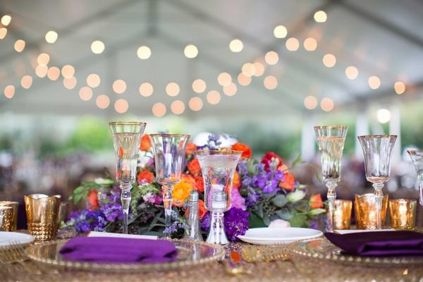 gold sequin table linen purple napkins berry tone colorful floral centerpieces wedding reception