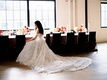 Wedding reception styled shoot bride in galia lahav wedding decor chairs around table velvet linens