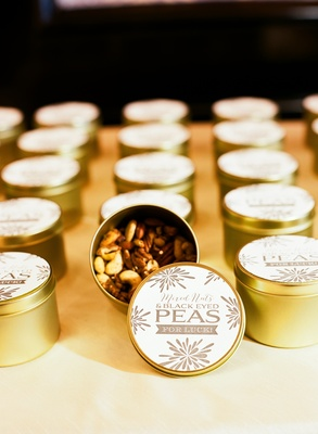 Black Eyed Peas in gold tins with custom labels