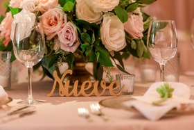Laser cut wood table number in spanish nueve for nine