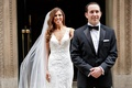 bride in pronovias lace wedding dress approaching groom for first look long brunette hair tuxedos