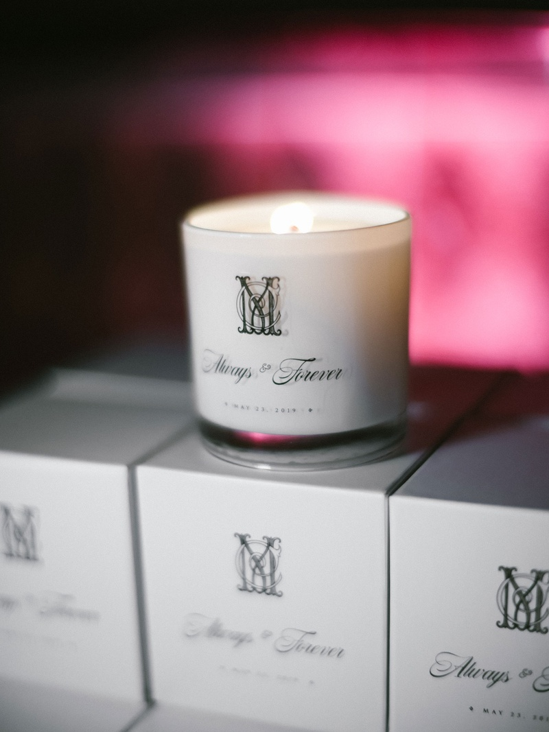 wedding reception favors matthew lawrence and cheryl burke always and forever candles with date