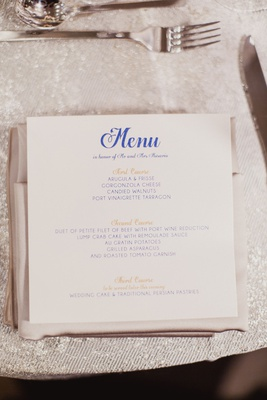 Wedding menu card white stationery square with blue script and gold course lettering