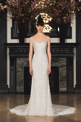 Ines Di Santo Spring 2019 collection sheath gown with sweetheart neckline straps and godet train