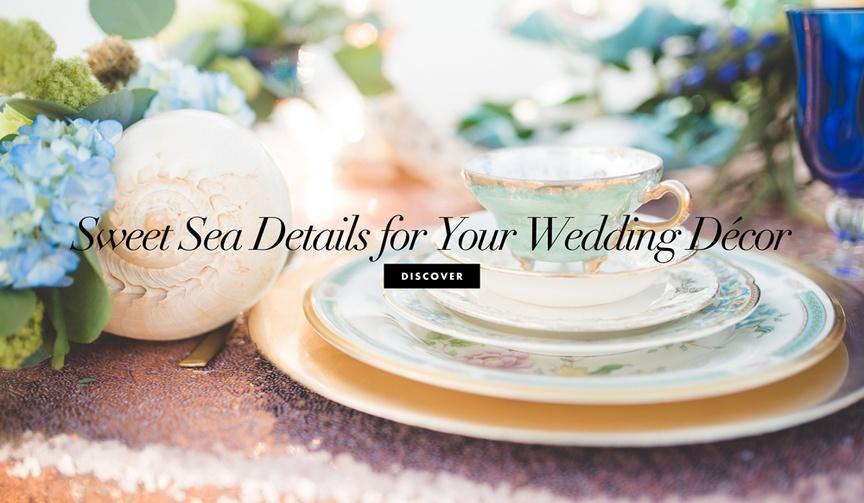 13 ocean sea beach decor details elements wedding theme motif ceremony reception cute shells fish