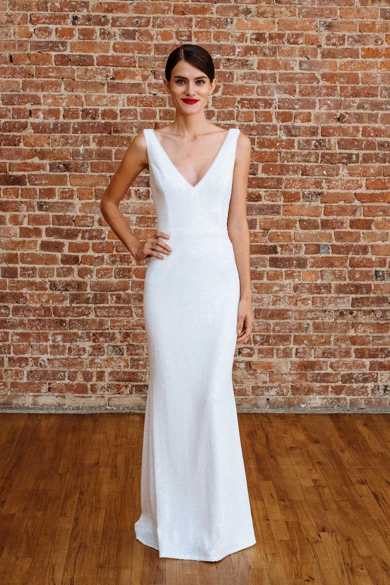 bb8d2cb2b22bc David's Bridal spring 2018 presentation v neck sheath wedding dress db  studio classic classy