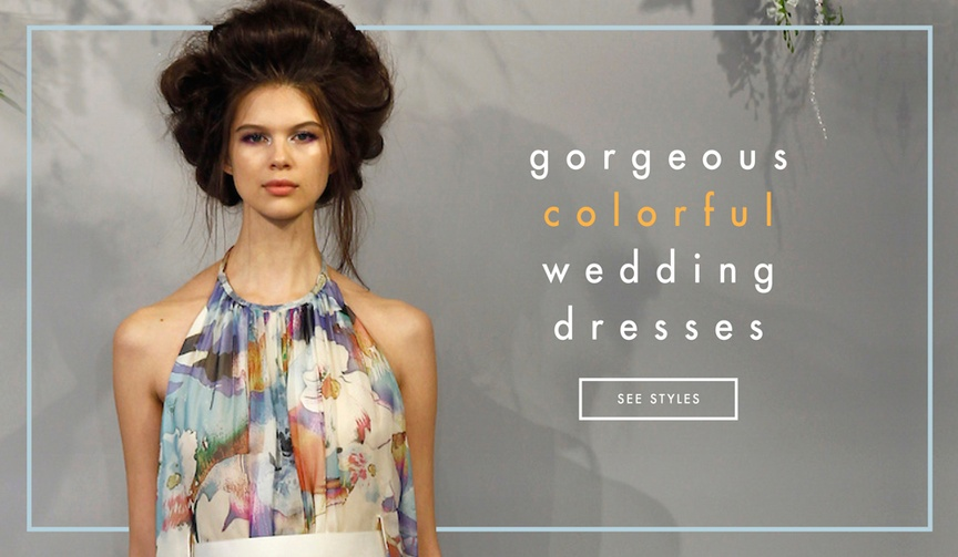 Colorful and printed wedding dress and bridal gown styles