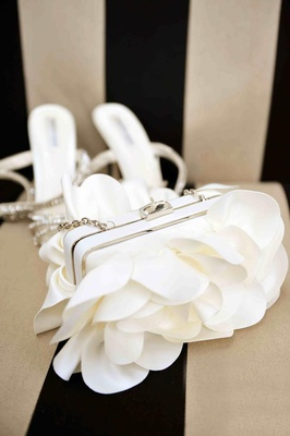 Structured bridal clutch with ivory fabric petals