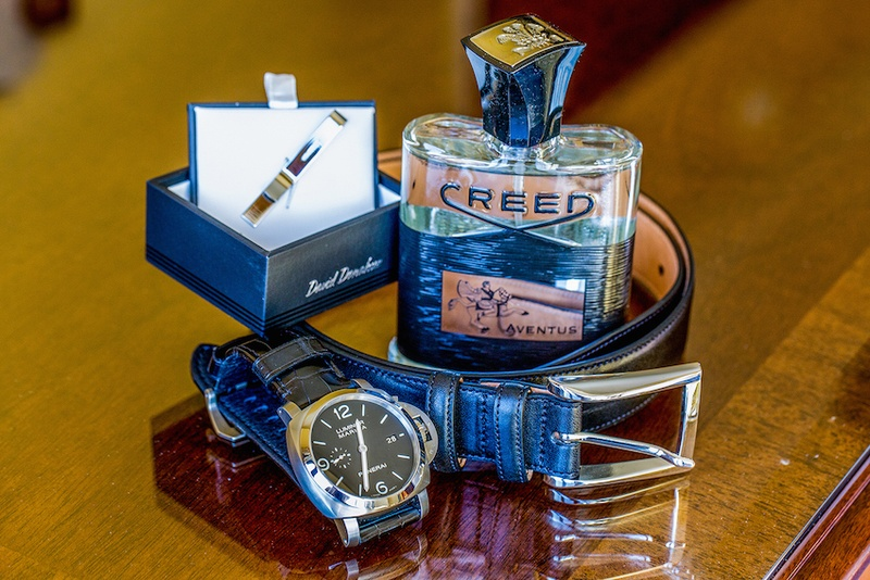 Black leather belt and watch with Creed cologne