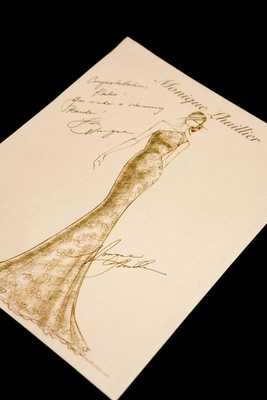 One-shoulder bridal gown sketched and signed