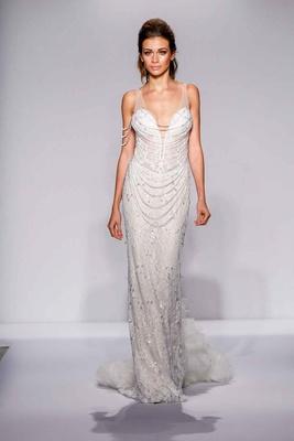 Pnina Tornai for Kleinfeld 2016 sheath wedding dress with draped Swarovski crystal strands