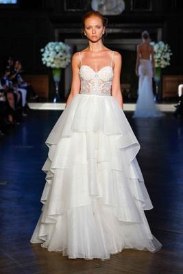 ad998a4cfa1b Alon Livné White Fall 2016 spaghetti strap sheer bodice and tiered organza  skirt wedding dress.