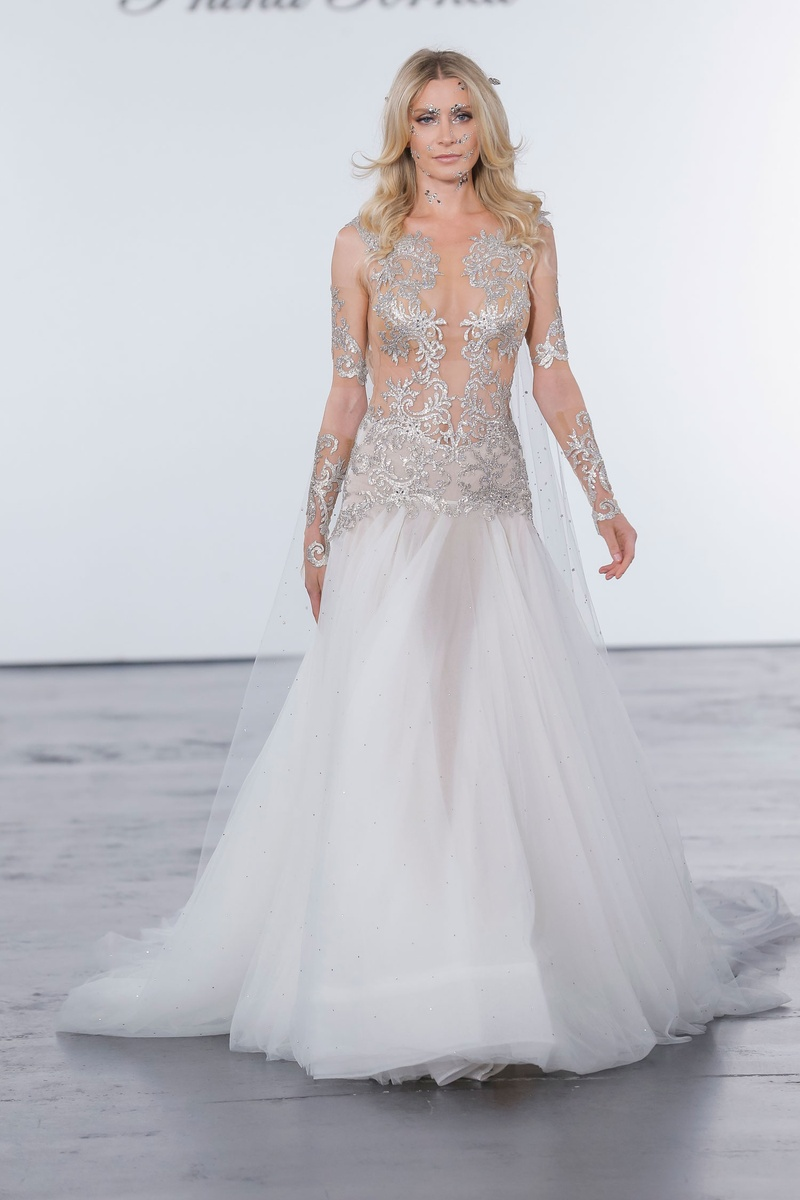 Pnina Tornai for Kleinfeld 2018 wedding dress drop waist sheer bodice long sleeves silver embroidery