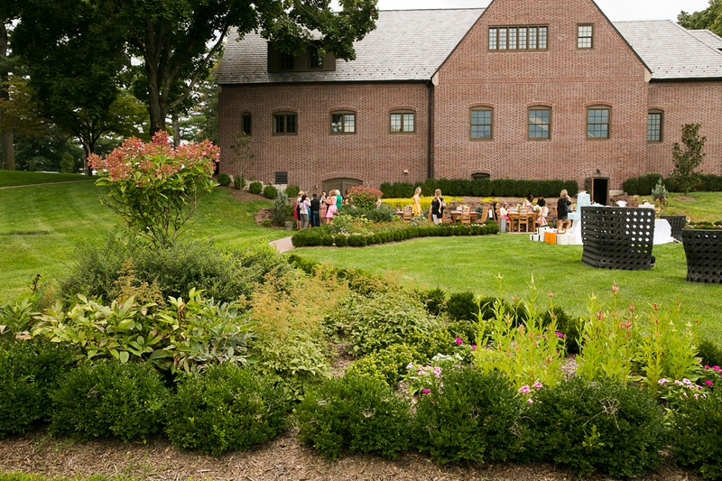 Bridal shower venue with large manicured green lawn
