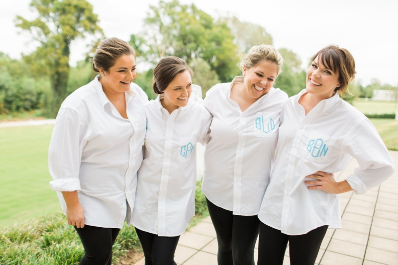 bridesmaid gift, white button up shirts with blue monogram for getting ready