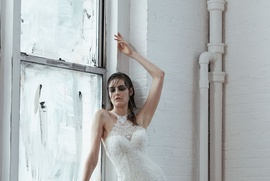 Isabelle Armstrong Fall 2018 bridal collection tulle mermaid gown with halter neckline and beading
