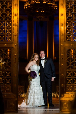 Bride and groom at Gotham Hall in New York City wedding venue